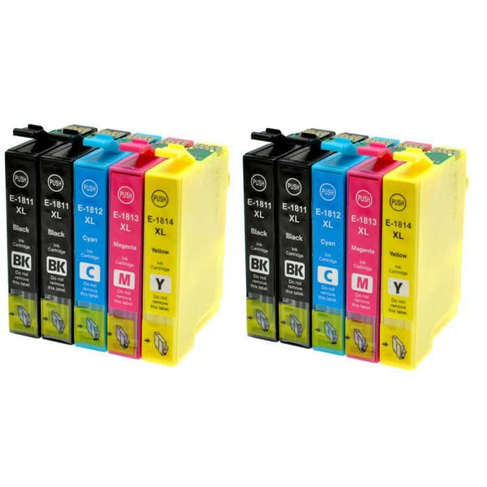 10x Tusze do drukarki Epson T1811 / T1814
