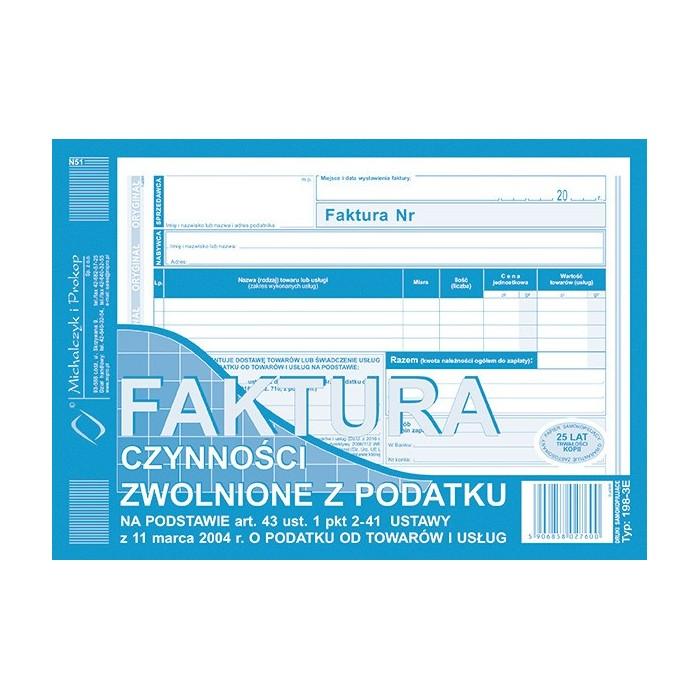 Druk FAKTURA A5 Czynności zwolnione z podatku art. 43 (Michalczyk i Prokop / 80 kartek / 198-3E)