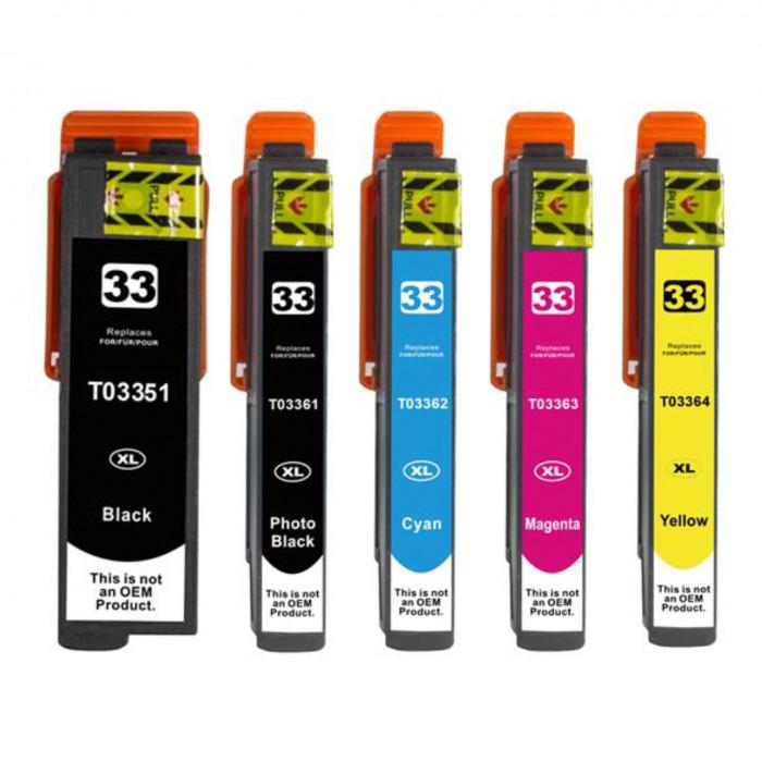 5x Zamiennik tuszu Epson T3351 - T3364 (33XL / T3357 / T33) - komplet kolorów