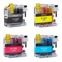 4x Zamiennik tuszu do Brother LC 123 - komplet kolorów (chip nowej generacji V3)