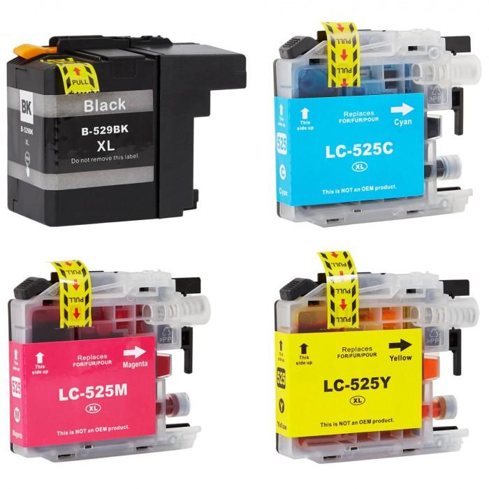 4x Zamiennik tuszu do drukarki Brother LC 529 XL / LC 525 - komplet kolorów